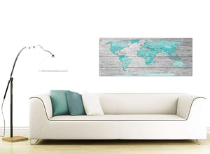Contemporary Large Teal Grey Map Of World Atlas Maps Canvas Modern 120cm Wide 1299 For Your Office