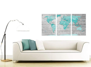 Contemporary Large Teal Grey Map Of World Atlas Maps Canvas Split 3 Part 3299 For Your Office