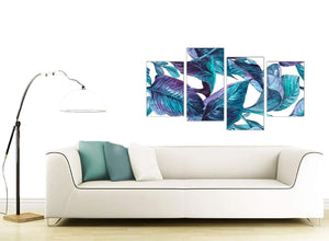 Contemporary Large Turquoise And White Tropical Leaves Canvas Split 4 Set 4323 For Your Living Room