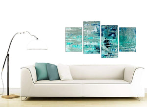 Contemporary Large Turquoise Teal Abstract Painting Wall Art Print Canvas Split 4 Set 4333 For Your Bedroom