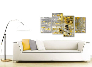 Contemporary Large Yellow Abstract Painting Wall Art Print Canvas Split 4 Piece 130cm Wide 4357 For Your Kitchen