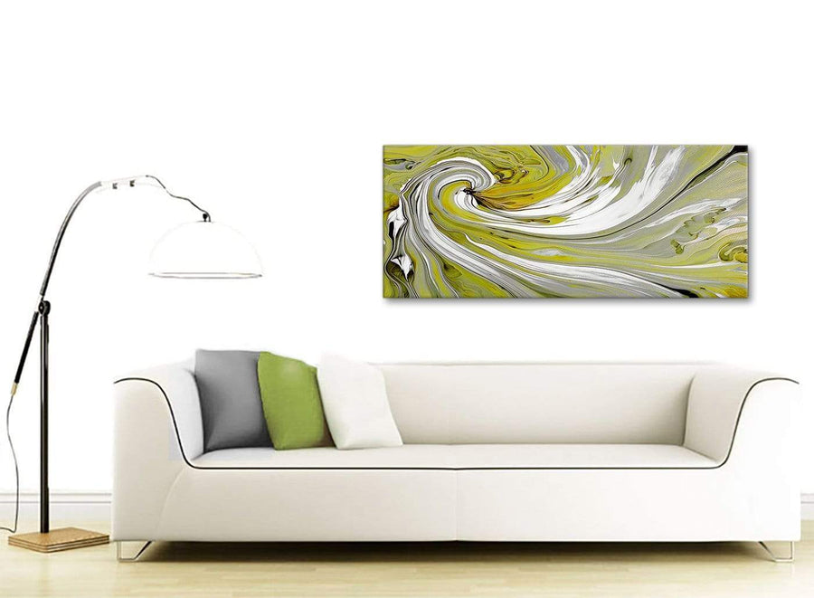 Contemporary Lime Green Swirls Modern Abstract Canvas Wall Art Modern 120cm Wide 1351 For Your Kitchen