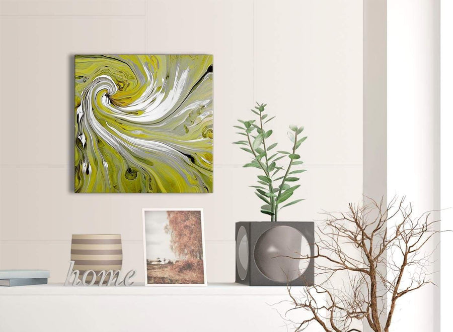 Contemporary Lime Green Swirls Modern Abstract Canvas Wall Art Modern 49cm Square 1S351S For Your Dining Room