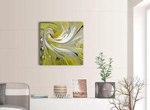 Contemporary Lime Green Swirls Modern Abstract Canvas Wall Art Modern 64cm Square 1S351M For Your Dining Room