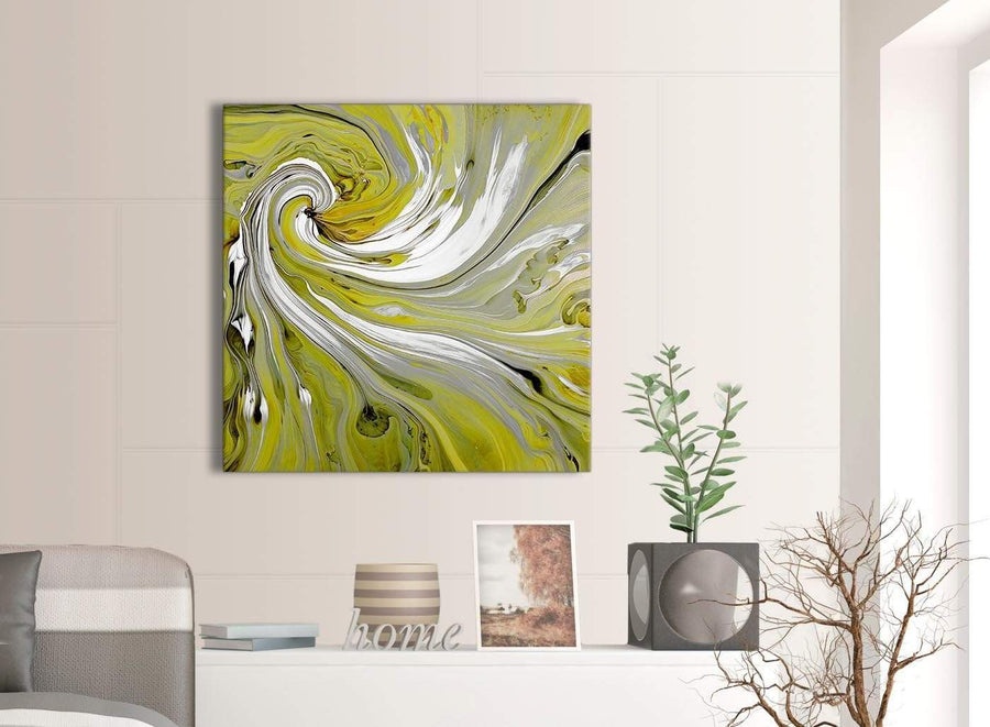 Contemporary Lime Green Swirls Modern Abstract Canvas Wall Art Modern 79cm Square 1S351L For Your Dining Room