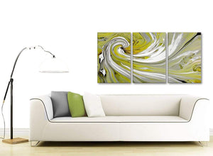 Contemporary Lime Green Swirls Modern Abstract Canvas Wall Art Multi Set Of 3 125cm Wide 3351 For Your Kitchen