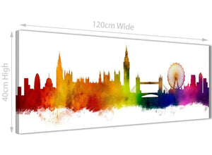 A Contemporary Canvas Picture showing a London Cityscape with Big Ben London Eye Tower Bridge