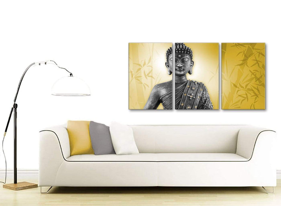 Contemporary Mustard Yellow And Grey Silver Wall Art Print Of Buddha Canvas Multi 3 Panel 3328 For Your Office