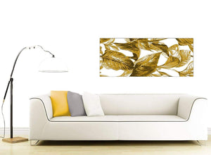 Cheap Mustard Yellow White Tropical Leaves Canvas Modern 120cm Wide 1318 For Your Dining Room