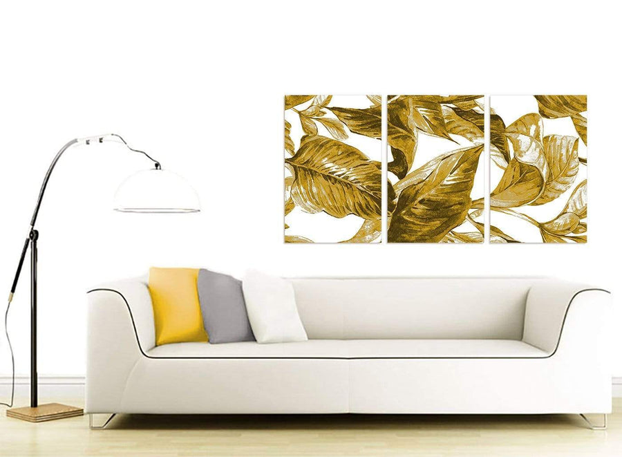Contemporary Mustard Yellow White Tropical Leaves Canvas Split 3 Panel 3318 For Your Living Room