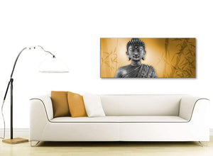 Contemporary Orange And Grey Silver Wall Art Prints Of Buddha Canvas Modern 120cm Wide 1329 For Your Living Room