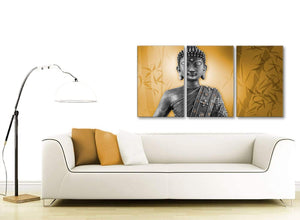 Contemporary Orange And Grey Silver Wall Art Prints Of Buddha Canvas Split Set Of 3 3329 For Your Hallway