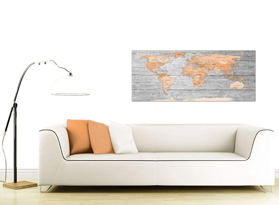 Contemporary Orange Cream Large Orange Grey Map Of World Atlas Canvas Wall Art Print Maps Canvas Modern 120cm Wide 1304 For Your Study