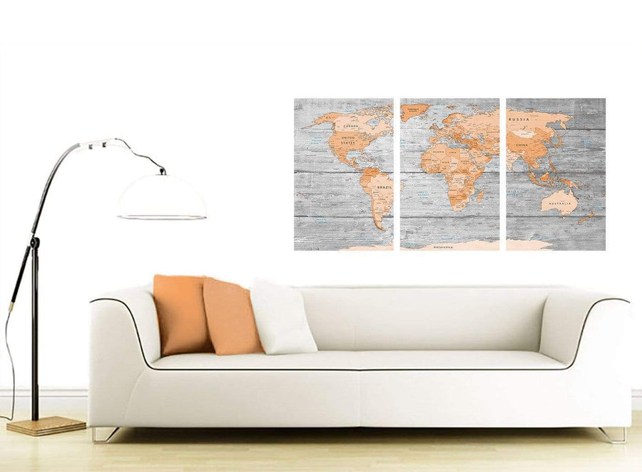 Contemporary Orange Cream Large Orange Grey Map Of World Atlas Canvas Wall Art Print Maps Canvas Multi Triptych 3304 For Your Study