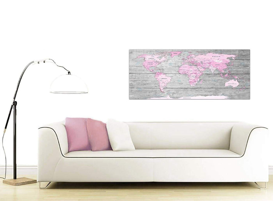 Contemporary Pink Grey Large Pink Grey Map Of World Atlas Canvas Wall Art Print – Maps Canvas Modern 120cm Wide 1302 For Your Girls Bedroom