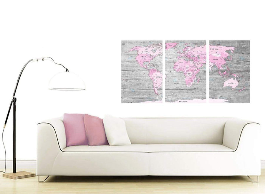 Cheap Pink Grey Large Pink Grey Map Of World Atlas Canvas Wall Art Print – Maps Canvas Multi 3 Panel 3302 For Your Girls Bedroom