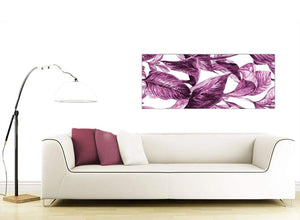Contemporary Plum Aubergine White Tropical Leaves Canvas Modern 120cm Wide 1319 For Your Bedroom