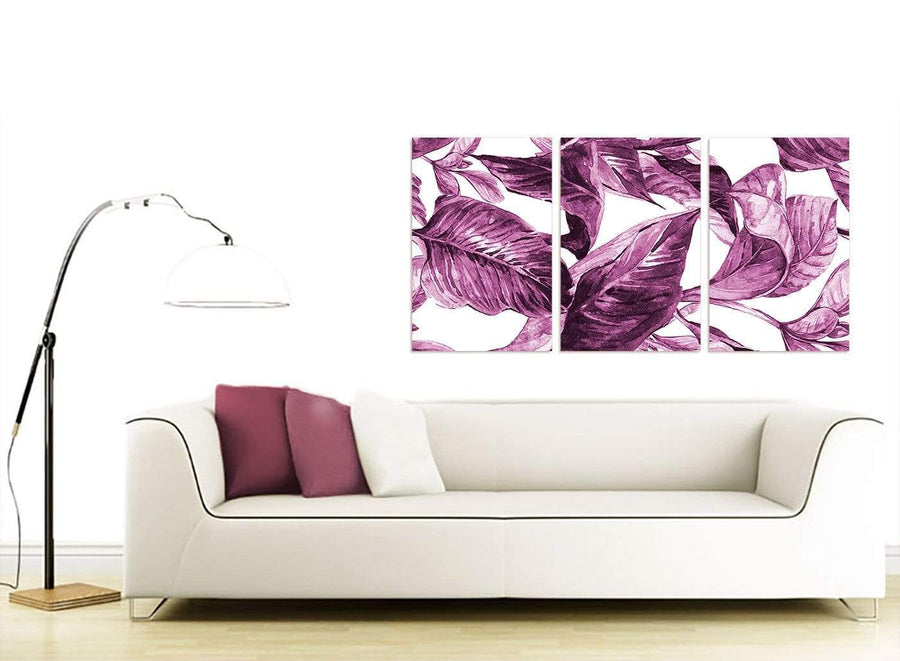 Contemporary Plum Aubergine White Tropical Leaves Canvas Multi 3 Set 3319 For Your Bedroom