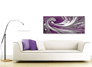 Contemporary Plum Purple White Swirls Modern Abstract Canvas Wall Art Modern 120cm Wide 1353 For Your Bedroom