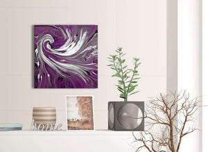 Contemporary Plum Purple White Swirls Modern Abstract Canvas Wall Art Modern 49cm Square 1S353S For Your Living Room