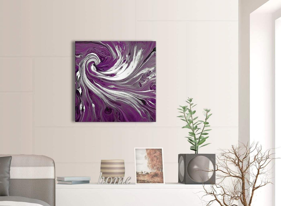 Contemporary Plum Purple White Swirls Modern Abstract Canvas Wall Art Modern 64cm Square 1S353M For Your Dining Room