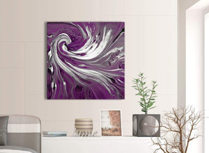 Contemporary Plum Purple White Swirls Modern Abstract Canvas Wall Art Modern 79cm Square 1S353L For Your Living Room