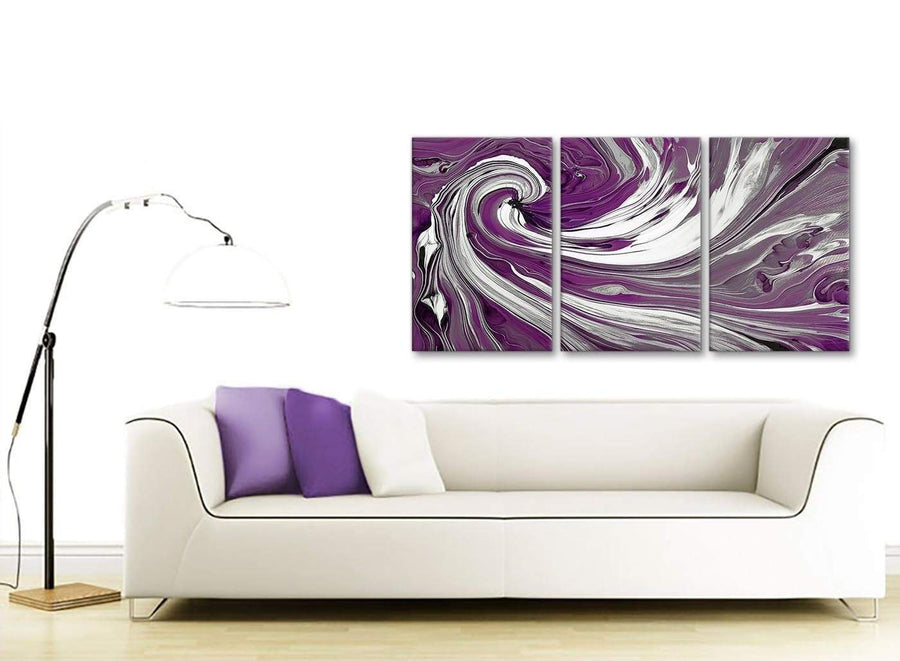 Contemporary Plum Purple White Swirls Modern Abstract Canvas Wall Art Split 3 Set 125cm Wide 3353 For Your Bedroom
