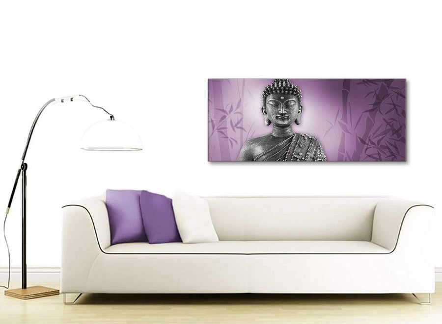 Contemporary Purple And Grey Silver Wall Art Prints Of Buddha Canvas Modern 120cm Wide 1330 For Your Living Room