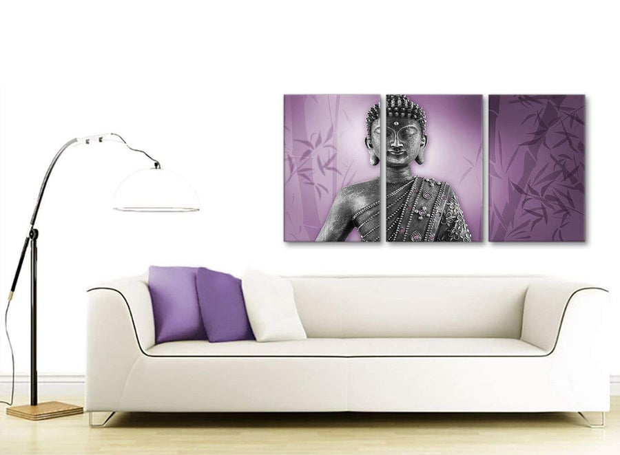 Contemporary Purple And Grey Silver Wall Art Prints Of Buddha Canvas Multi 3 Part 3330 For Your Living Room