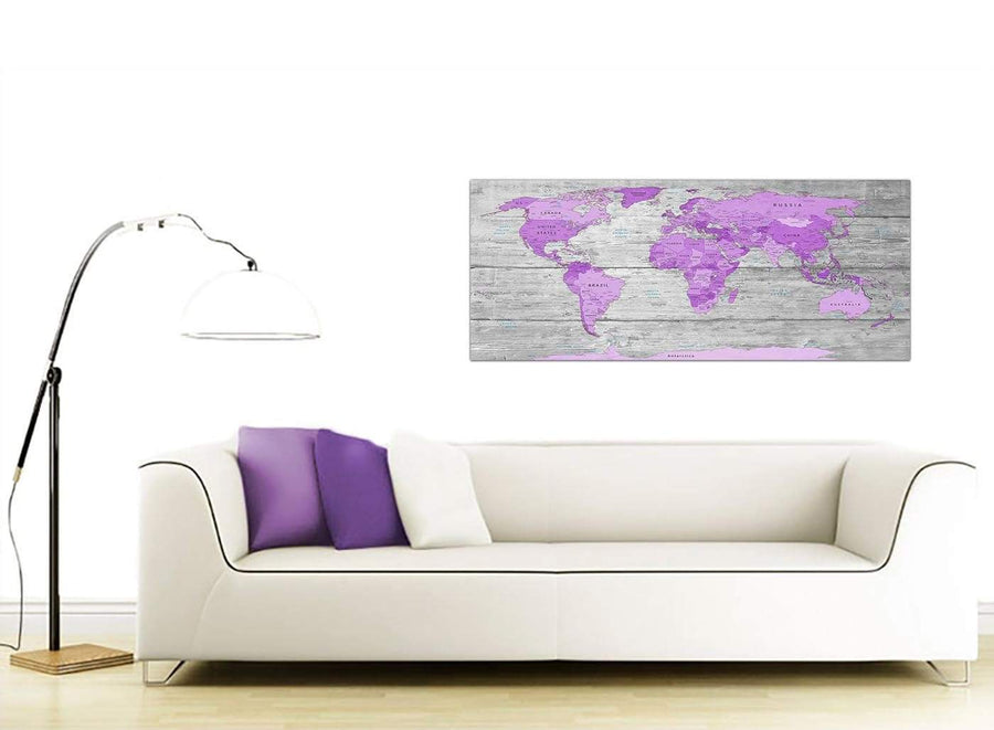 oversized purple grey large purple and grey map of world atlas canvas wall art print maps canvas modern 120cm wide 1298 for your bedroom