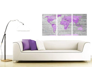 oversized purple grey large purple and grey map of world atlas canvas wall art print maps canvas multi triptych 3298 for your bedroom