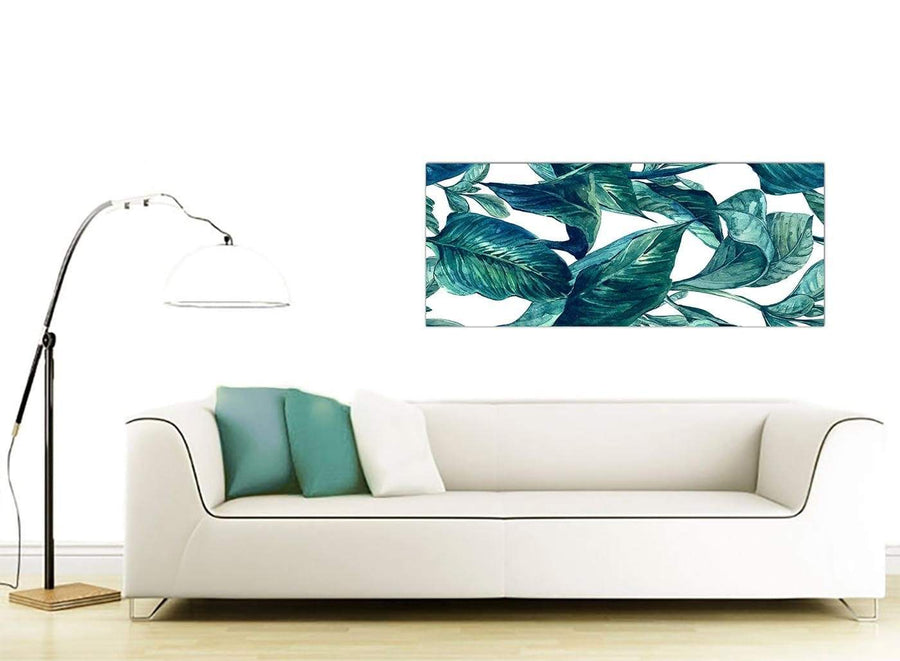 Contemporary Teal Blue Green Tropical Exotic Leaves Canvas Modern 120cm Wide 1325 For Your Living Room