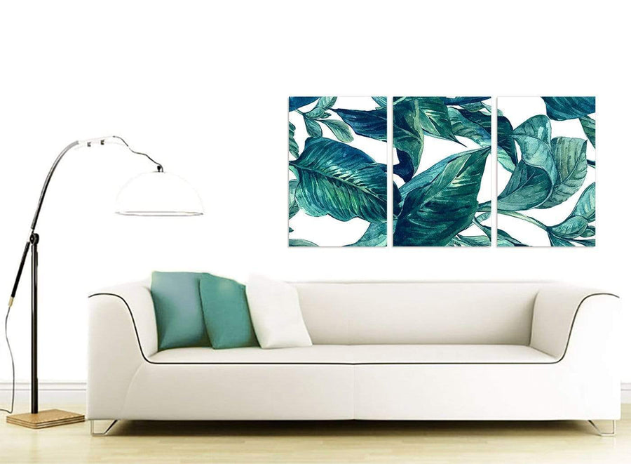 Contemporary Teal Blue Green Tropical Exotic Leaves Canvas Multi 3 Panel 3325 For Your Dining Room