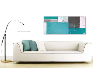 Contemporary Teal Grey Abstract Painting Canvas Wall Art Modern 120cm Wide 1344 For Your Living Room