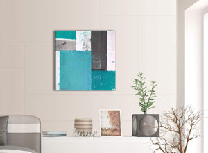 Contemporary Teal Grey Abstract Painting Canvas Wall Art Modern 64cm Square 1S344M For Your Living Room
