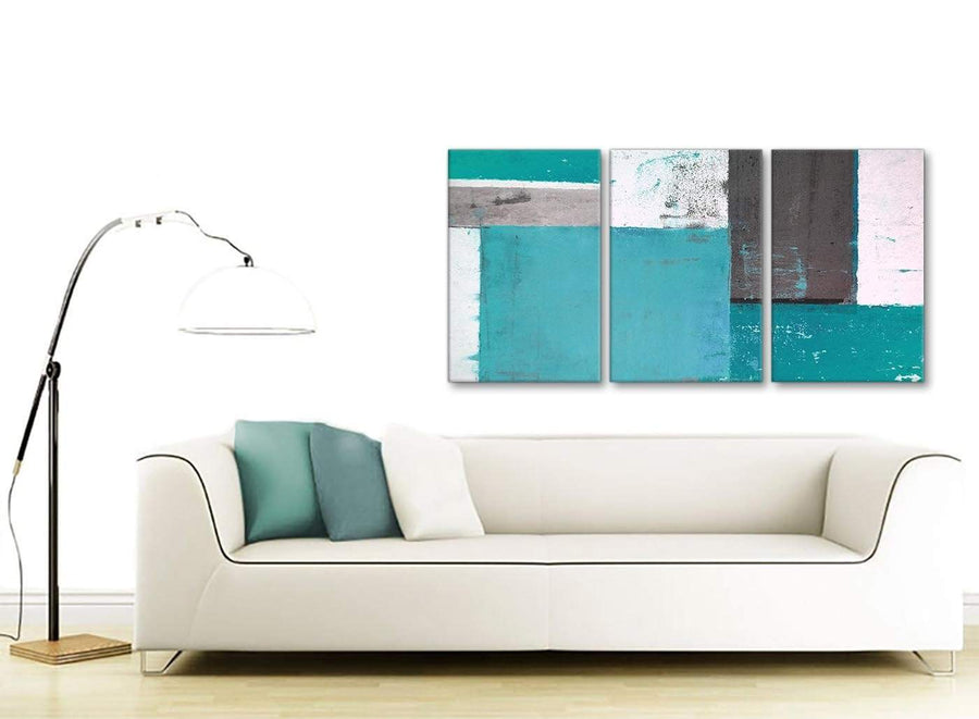 Contemporary Teal Grey Abstract Painting Canvas Wall Art Split 3 Set 125cm Wide 3344 For Your Bedroom