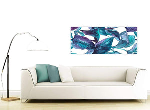 Contemporary Turquoise And White Tropical Leaves Canvas Modern 120cm Wide 1323 For Your Living Room