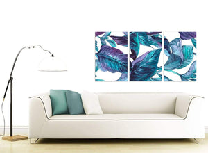 Contemporary Turquoise And White Tropical Leaves Canvas Split 3 Piece 3323 For Your Kitchen