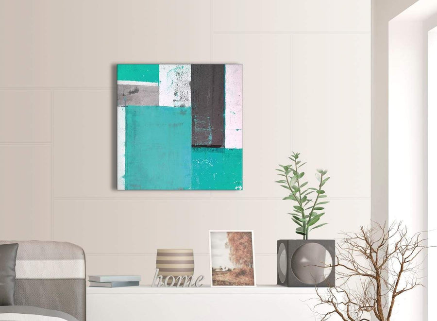 Contemporary Turquoise Grey Abstract Painting Canvas Wall Art Modern 64cm Square 1S345M For Your Bedroom