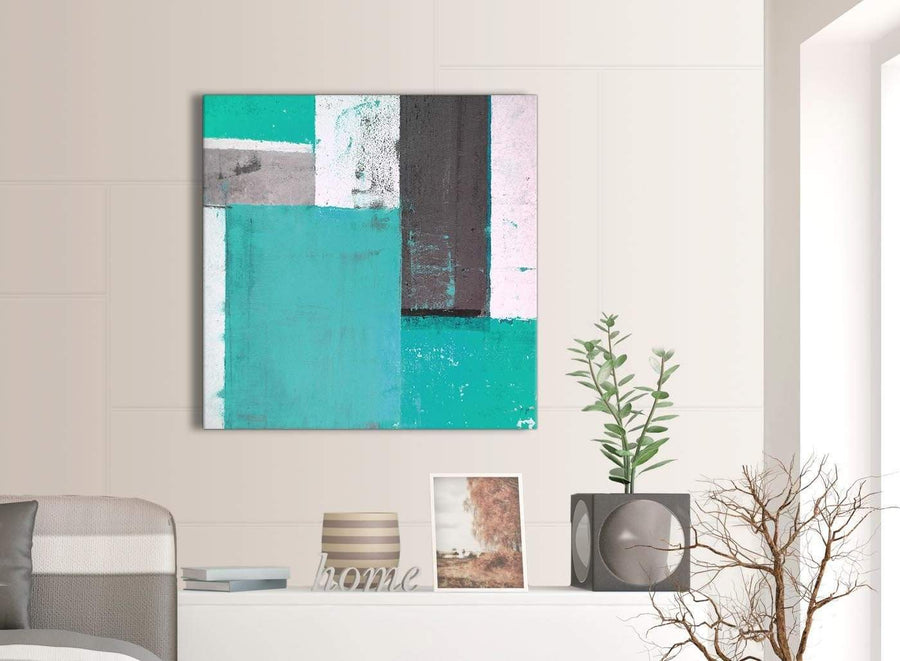 Contemporary Turquoise Grey Abstract Painting Canvas Wall Art Modern 79cm Square 1S345L For Your Bedroom