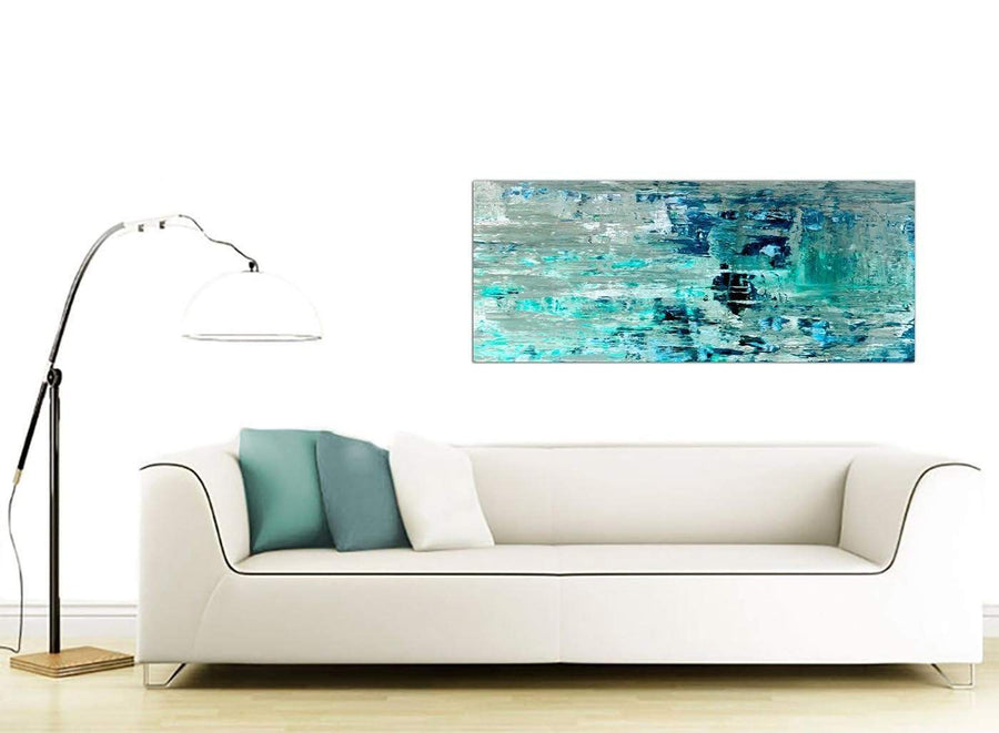 Contemporary Turquoise Teal Abstract Painting Wall Art Print Canvas Modern 120cm Wide 1333 For Your Hallway