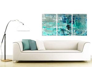Contemporary Turquoise Teal Abstract Painting Wall Art Print Canvas Split 3 Panel 3333 For Your Living Room