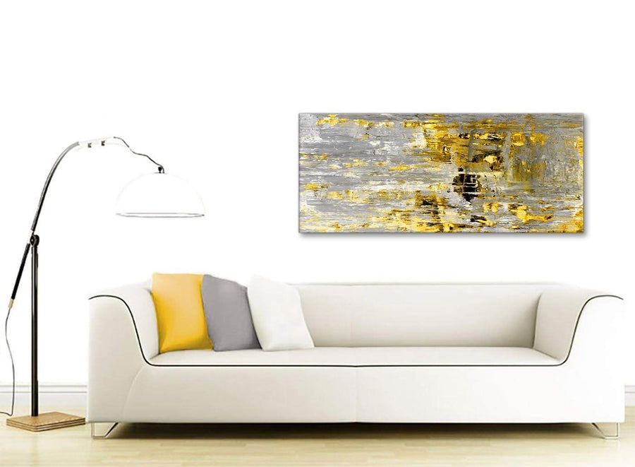 Contemporary Yellow Abstract Painting Wall Art Print Canvas Modern 120cm Wide 1357 For Your Dining Room