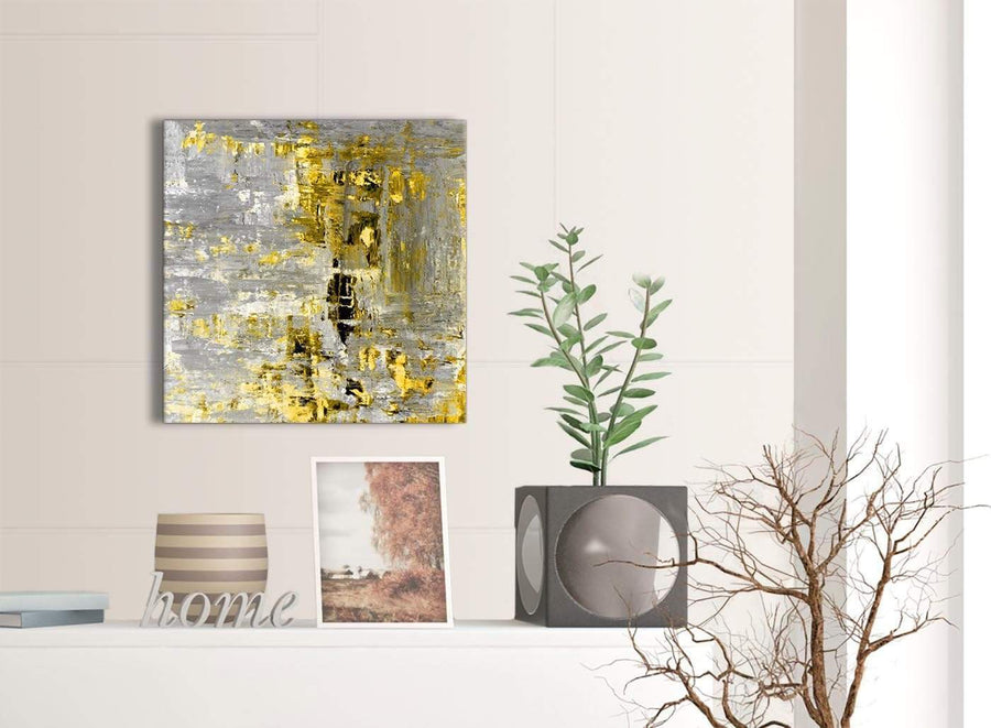 Contemporary Yellow Abstract Painting Wall Art Print Canvas Modern 49cm Square 1S357S For Your Kitchen