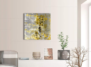 Contemporary Yellow Abstract Painting Wall Art Print Canvas Modern 64cm Square 1S357M For Your Dining Room