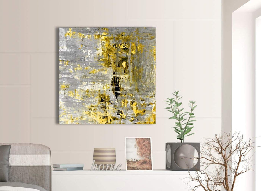 Contemporary Yellow Abstract Painting Wall Art Print Canvas Modern 79cm Square 1S357L For Your Kitchen