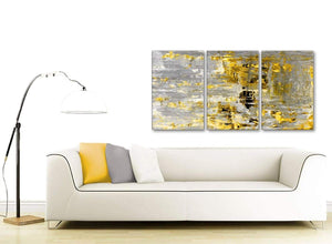 Contemporary Yellow Abstract Painting Wall Art Print Canvas Split 3 Part 125cm Wide 3357 For Your Kitchen