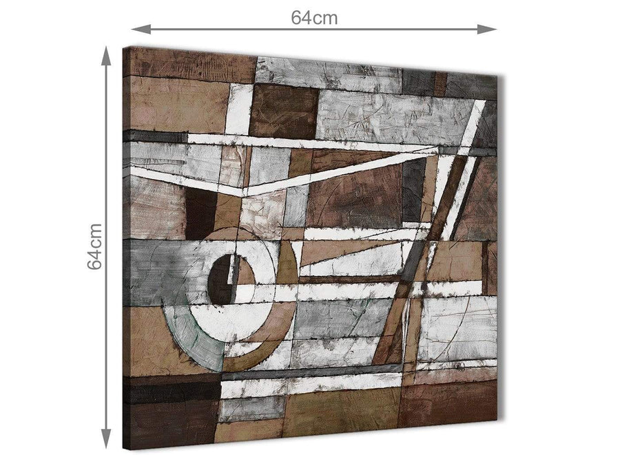 Contemporary Brown Beige White Painting Living Room Canvas Pictures Decor - Abstract 1s407m - 64cm Square Print