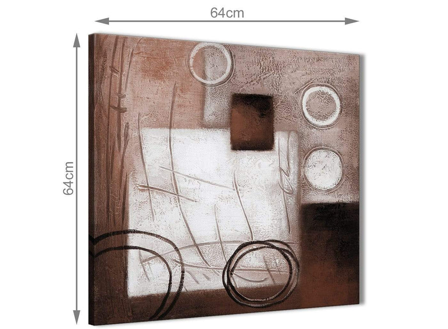 Contemporary Brown White Painting Hallway Canvas Pictures Decorations - Abstract 1s422m - 64cm Square Print