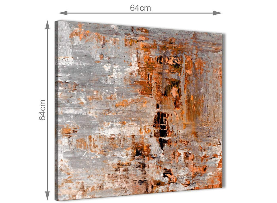 Contemporary Burnt Orange Grey Painting Kitchen Canvas Wall Art Decorations - Abstract 1s415m - 64cm Square Print